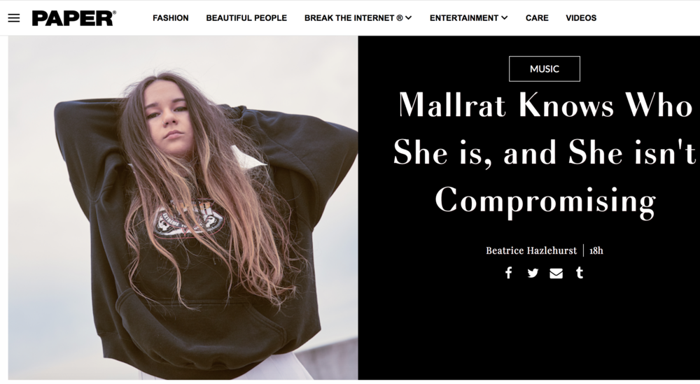 Mallrat as seen in paper magazine