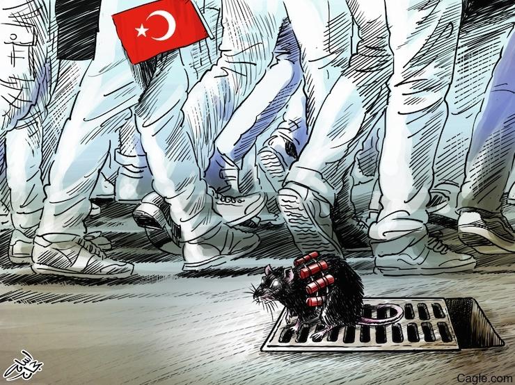 Emad bin Hajjaj'ın Ankara Katliamı üzerine çizdiği karikatür