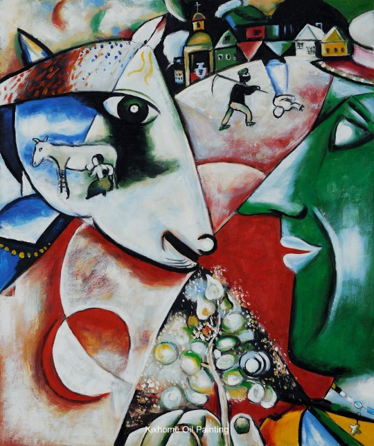 Kötütemeller üzerinde yükseltebildiğim eğri büğrübinalardan biri Chagall.I and the Village.