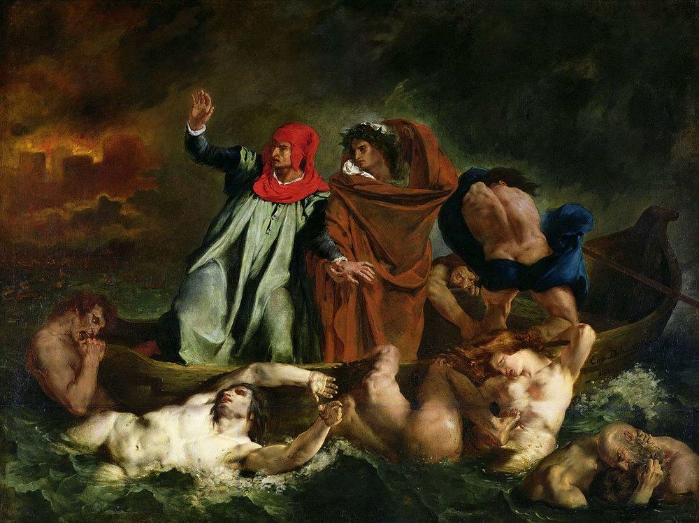 The Barque of Dante . Delacroix, İlahi Komedya'dan esinlenerek bu tabloyu yapmış. Dante ve ona rehberlik eden şair Virgil, cehennemin dokuz halkasını geziyorlar. Ölüler Şehri arkada yanarken, Styx nehrindeki delirmiş kurbanlar kayığın üstüne çıkmaya çalışıyorlar. O zamanlar insanların çoğu bu tip resimleri sembolik görmüyor, gayet ciddiye alıyordu. Yokoluşun korkunçluğuna kıyasla, korkunç işkencelerle dolu bir ahiret bile daha iyiydi.