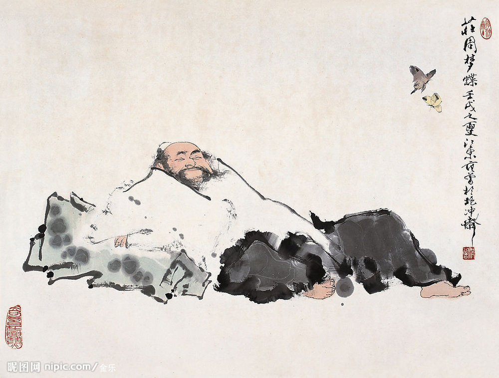 """Zhuangzi ve kelebekler (resmin sağ tarafında). Burada """"recursive"""" bir durum var:Kelebeğin rüyası olabileceğimiz gibi, Zhuangzi'yi rüyasında gören bir kelebeği rüyasında göre bir başka yaratık da olabiliriz. Bu böyle uzar gider."""