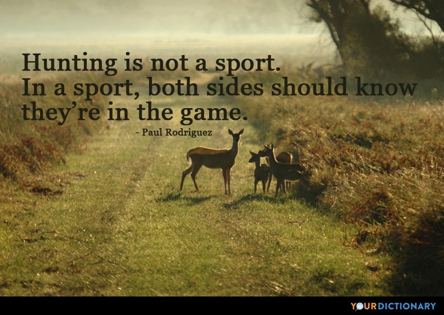 """""""Avcılık bir spor değildir. Bir sporda, her iki taraf da oyunun içinde olduğunu bilmeli."""""""