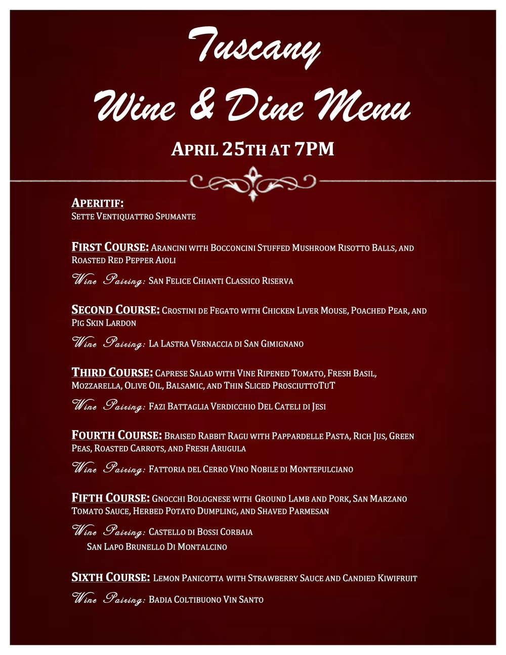 Tuscany Wine Menu
