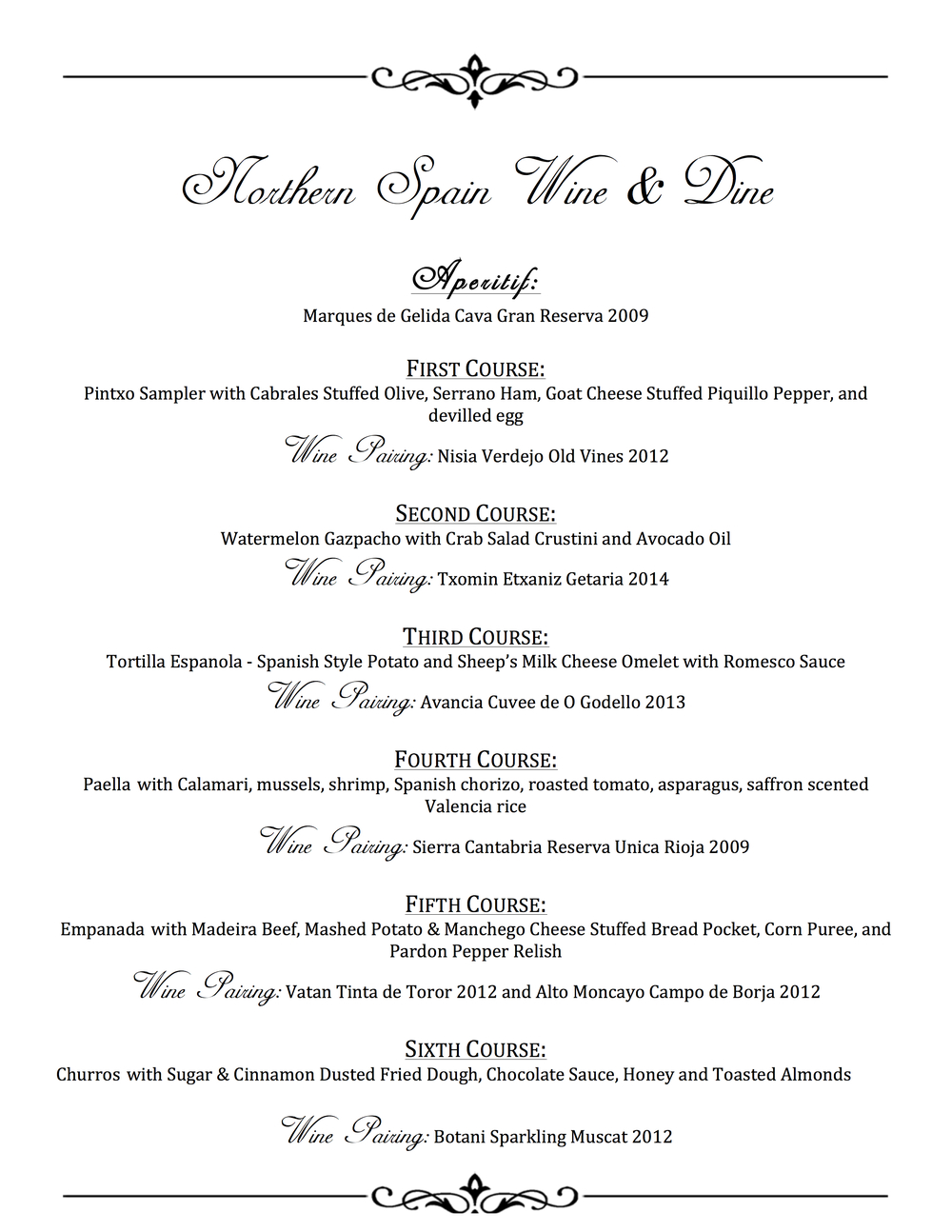 Northern Spain Wine & Dine Menu
