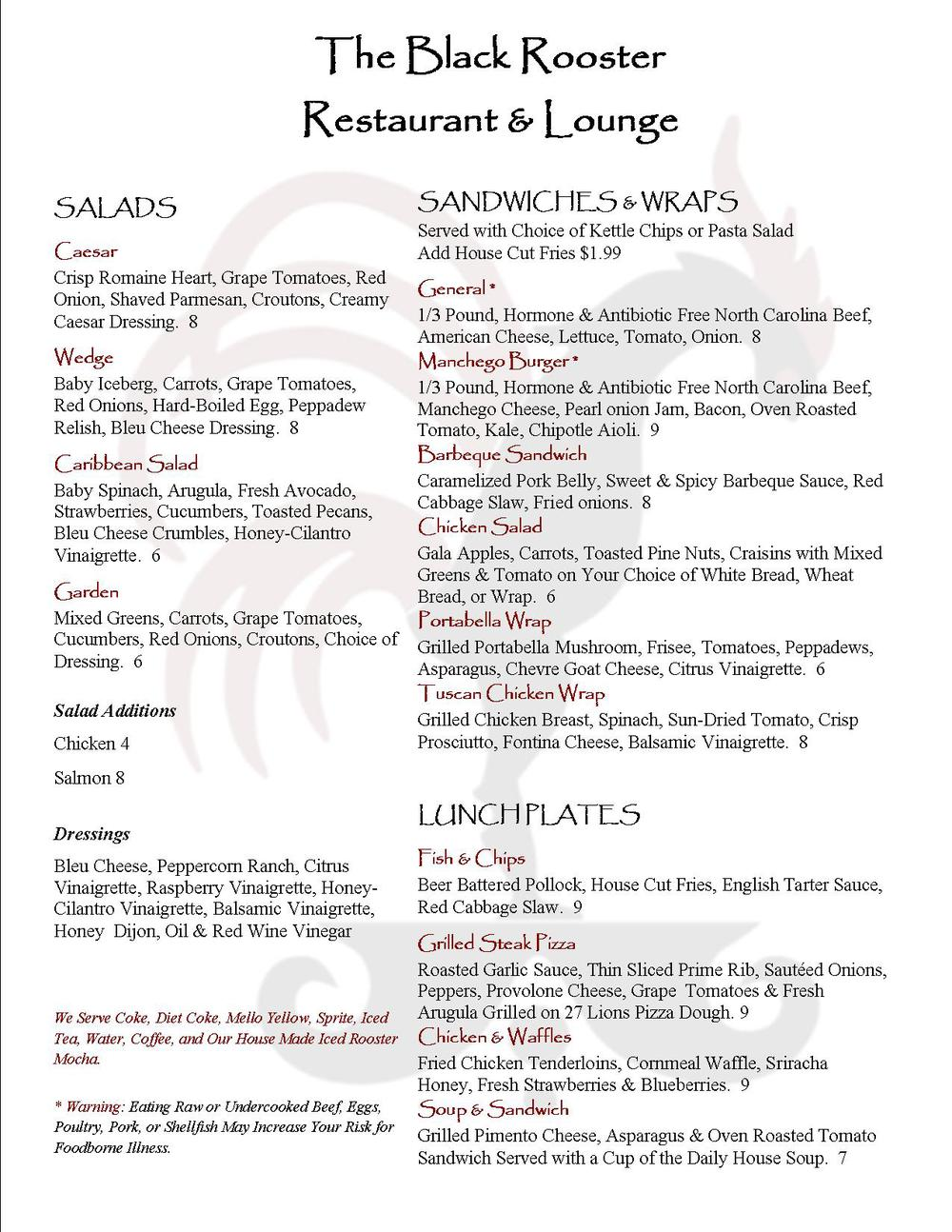 Black Rooster Lunch Menu