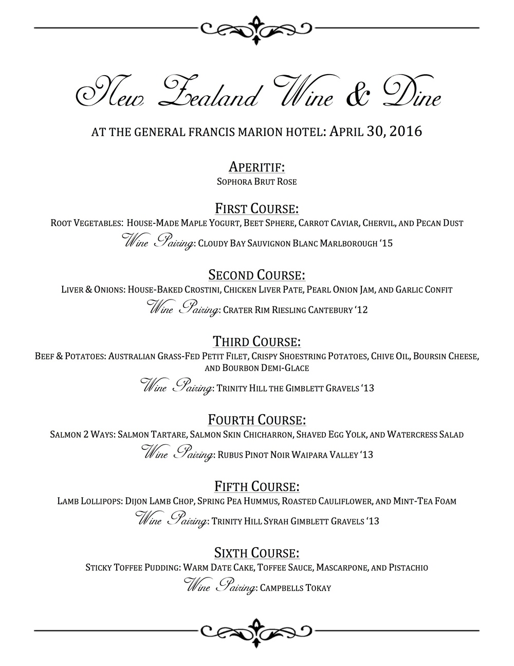 New Zealand Wine & Dine Menu at The General Francis Marion Hotel