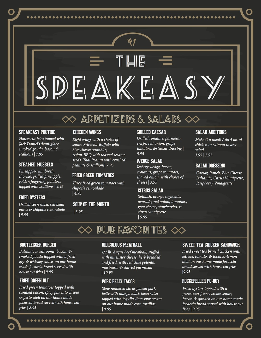 The Speakeasy Menu