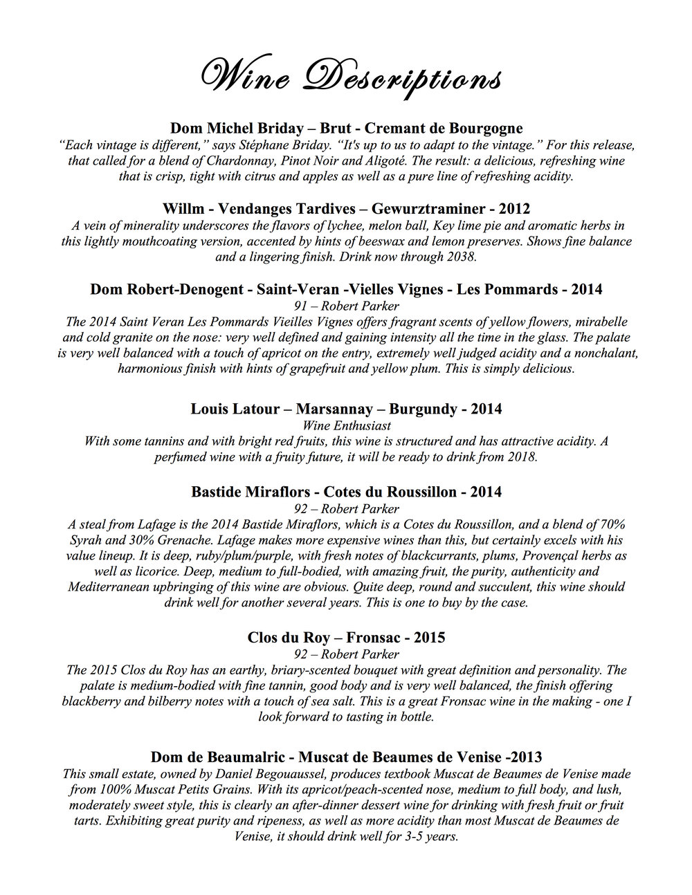 The Speakeasy January French Wine Descriptions