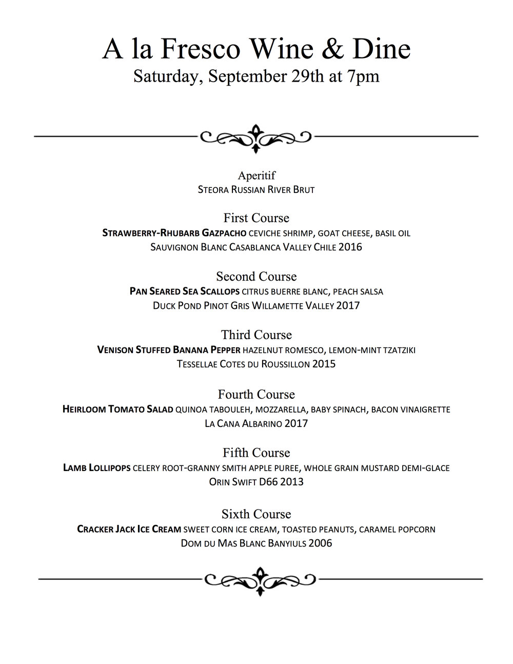 September Wine & Dine at The Speakeasy