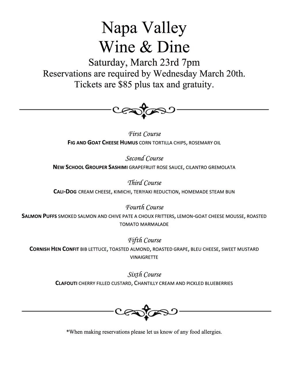 General Francis Marion Hotel Napa Valley Wine & Dine Menu