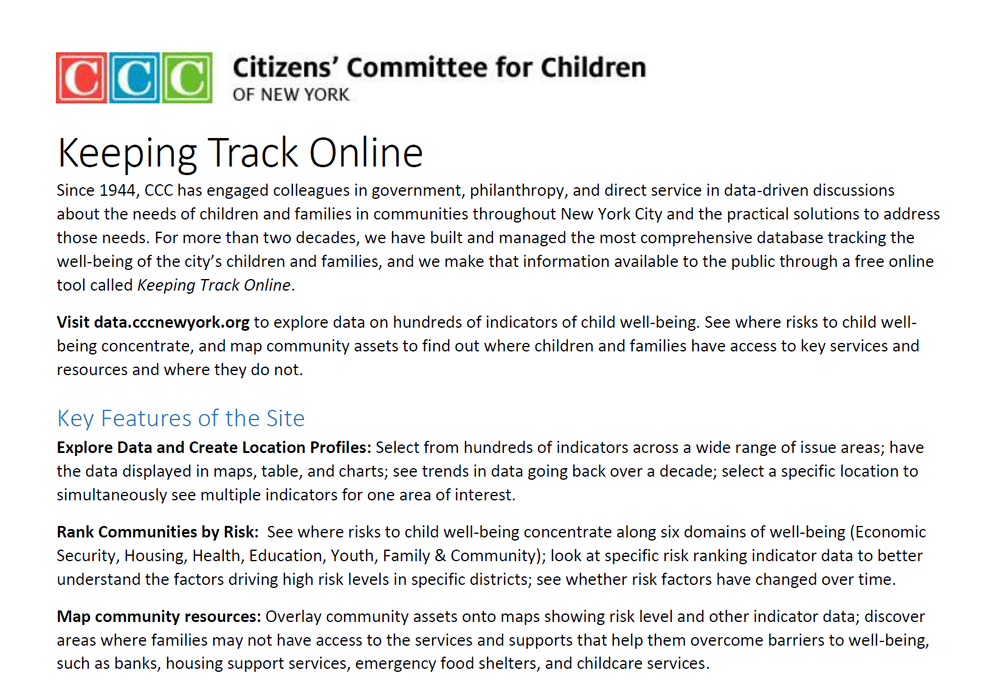 Information on Keeping Track Online (CCC-NY): The largest city-based database on child well-being in the country