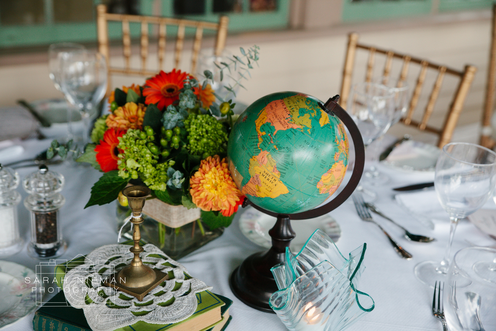 The globes on the tables were one of my favorite details.