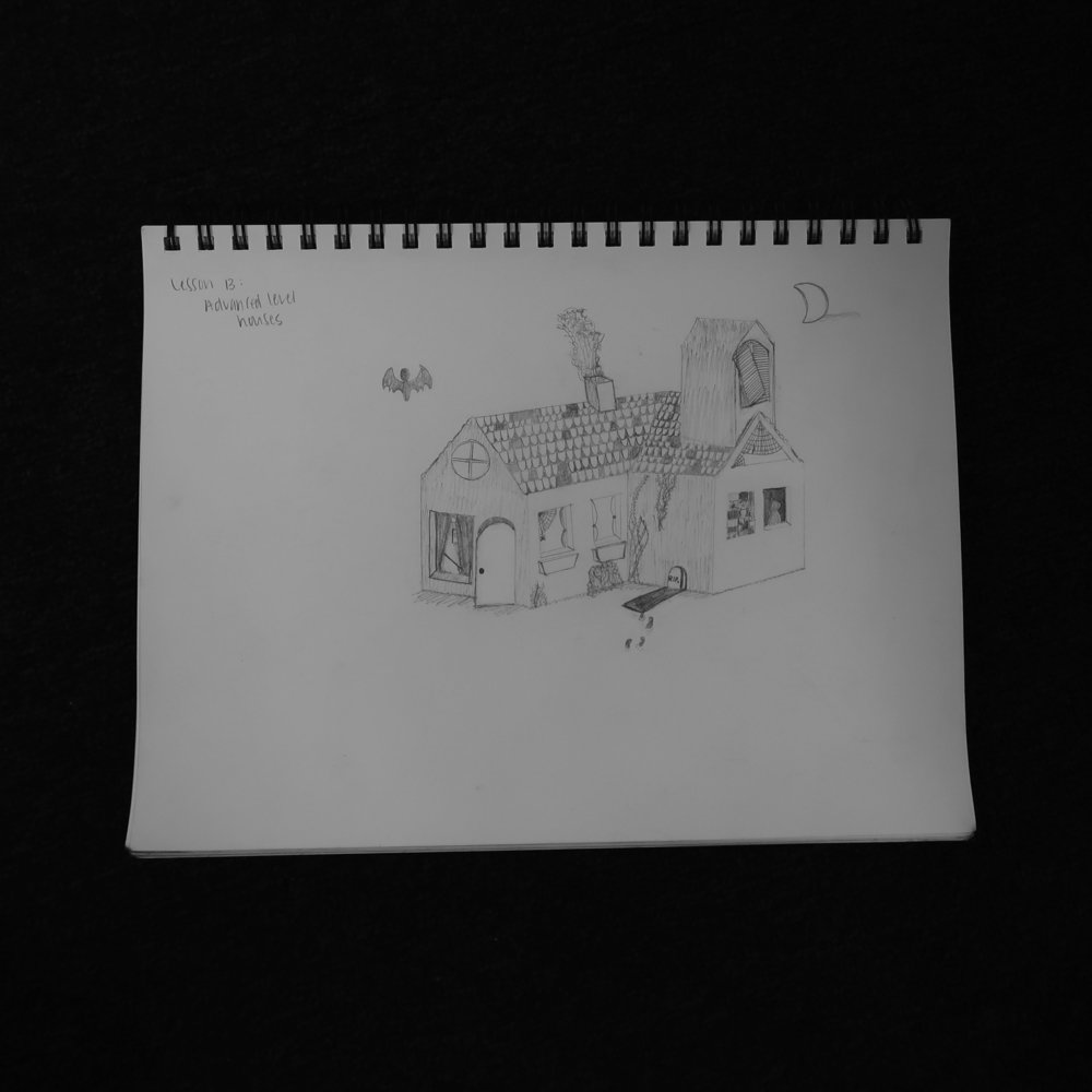 This was my favorite drawing. I don't really love doing detail work, and I definitely didn't have the right tools, but I love this haunted house anyway.
