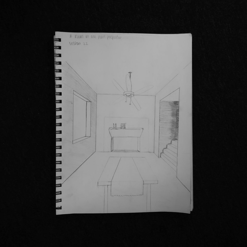 This was my second take of a room in one-point perspective. I struggled HARD with that ceiling fan but otherwise, I really liked the perspective lessons in this book!