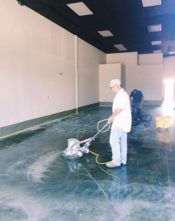 Polishing the floors