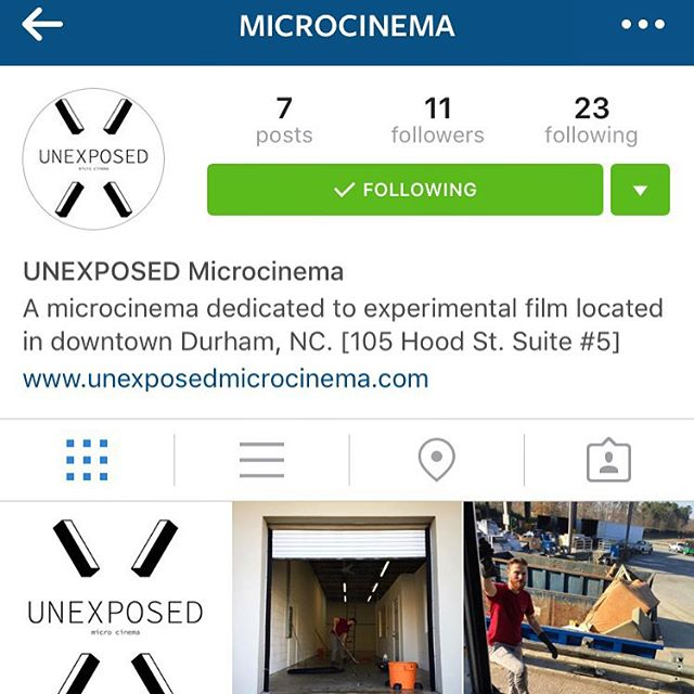 Follow our new Instagram guys! @microcinema  Just acquired a space in downtown Durham, NC for our next venture: UNEXPOSED Microcinema to open soon!