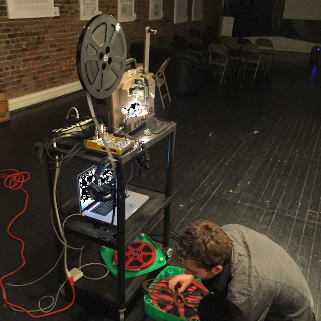 Kevin Rice setting up last week for his traveling program Frenkel Defects featured during UNEXPOSED's 18th show.