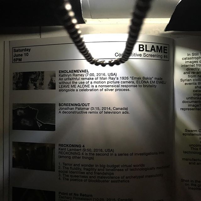 BLAME. Tonight at 6pm. Politically oriented screening. Starts with a double projector film on 16mm by local Boston filmmaker, Kathryn Ramey!