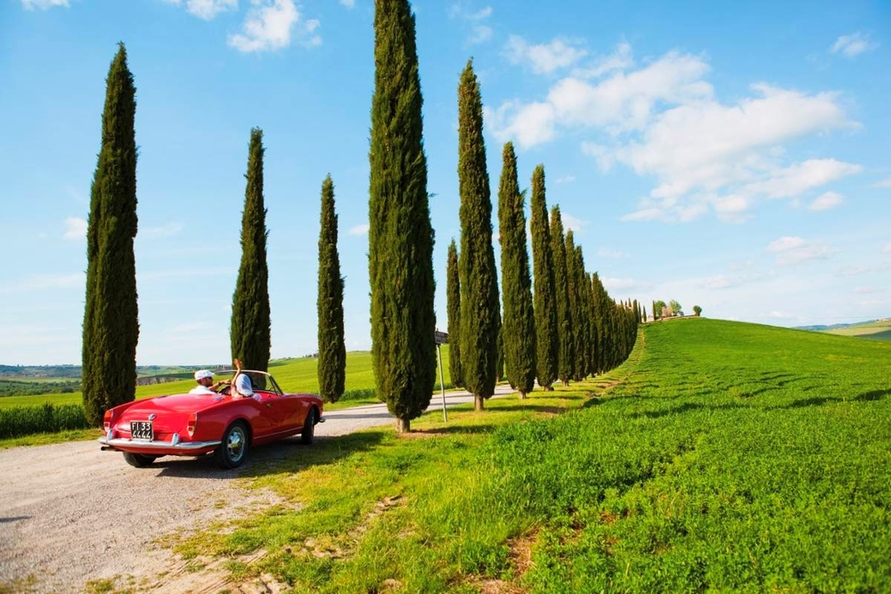 Vintage car in the Tuscan countryside
