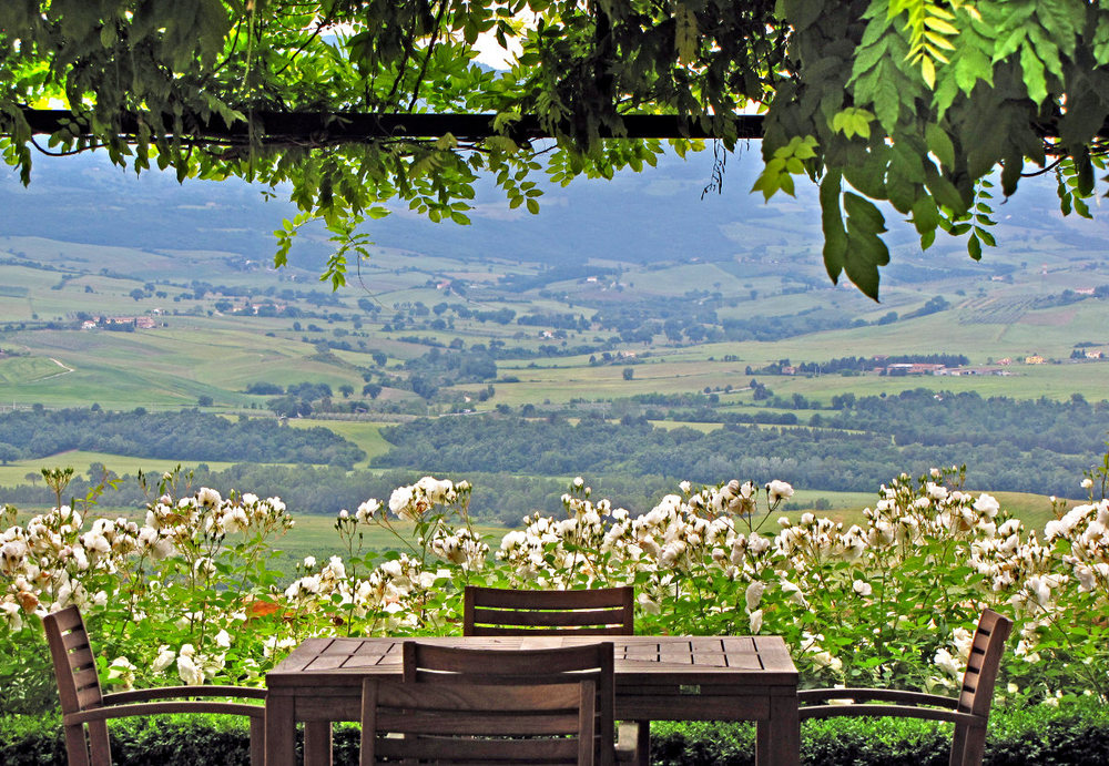 Table on a top of a hill overlooking the beautiful landscapes