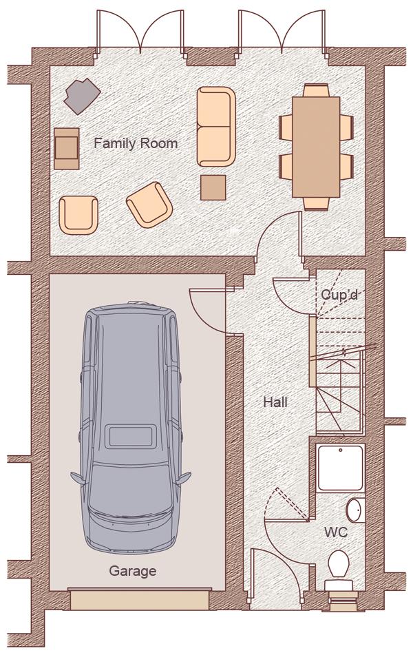 "Ground Floor Garage: 3.22m x 5.79m (10'7"" x 19'0"") Family Room: 3.36m x 3.48m (18'10"" x 11'5"")"