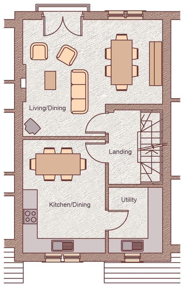 "First Floor Living/Dining: 5.75m x 4.80m (18'10"" x 15'9"") Kitchen/Dining: 3.40m x 4.66m (11'2"" x 15'3"") Utility Room: 2.26m x 2.70m (7'4"" x 8'10"")"