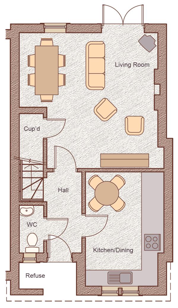 "Ground Floor Living/Dining:5.17m x 5.00m (17'0"" x 16'5"") Kitchen/Dining:2.90m x 4.27m (9'6"" x 14'0"")"