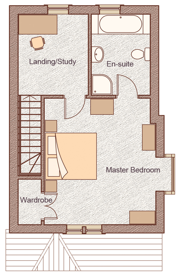 "Second Floor   Master Bedroom:5.01m x 4.94m(16'8"" x 16'2"") Landing/Study:2.75m x 3.16m(9'0"" x 10'4"")"