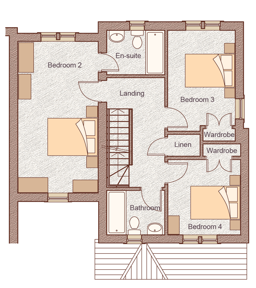 """First Floor Bedroom 2: 3.20m x 6.10m (10'6"""" x 20'0"""") Bedroom 3: 2.70m x 4.06m (8'11"""" x 13'4"""") Bedroom 4: 2.93m x 3.00m (9'7"""" x 9'10"""")"""
