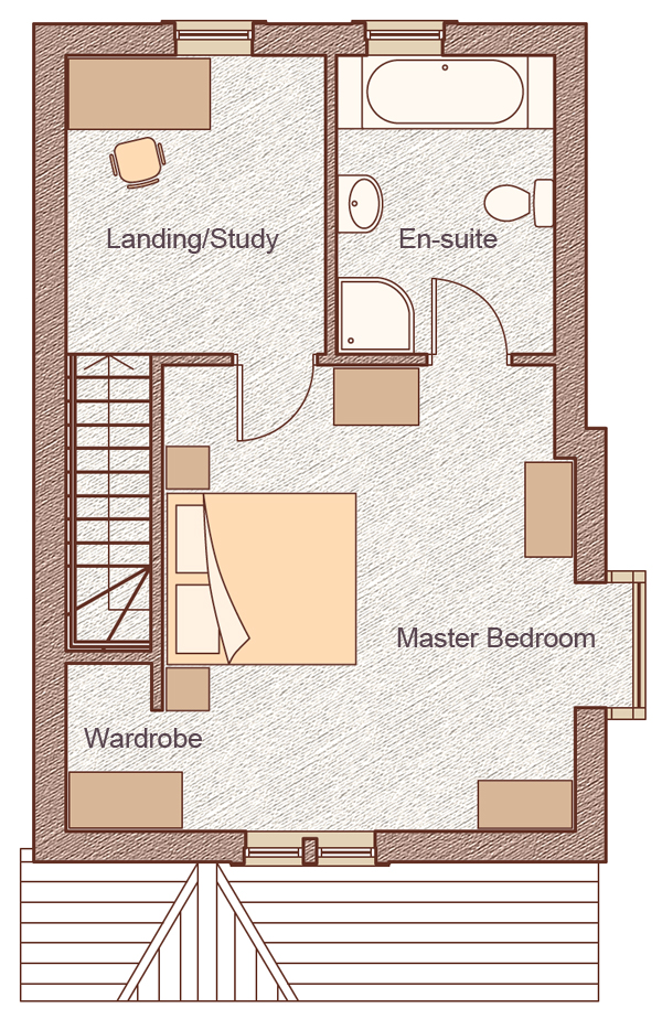 "Second Floor Master Bedroom: 5.01m x 4.94m (16'8"" x 16'2"") Landing/Study: 2.75m x 3.16m (9'0"" x 10'4"")"
