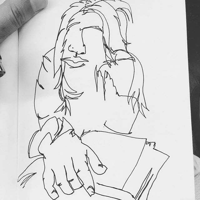 """Bookworm"" . . . . . #blindcontour #blindcontourdrawing #drawing #portrait #blackandwhite #contourdrawing #mtrain #brooklyn #nyc #subwayart #peopleonthetrain #subwayillustrations #subwaysketch #subwaysketching #penandink #blackmarker #nocolor #bookworm #readingonthetrain"
