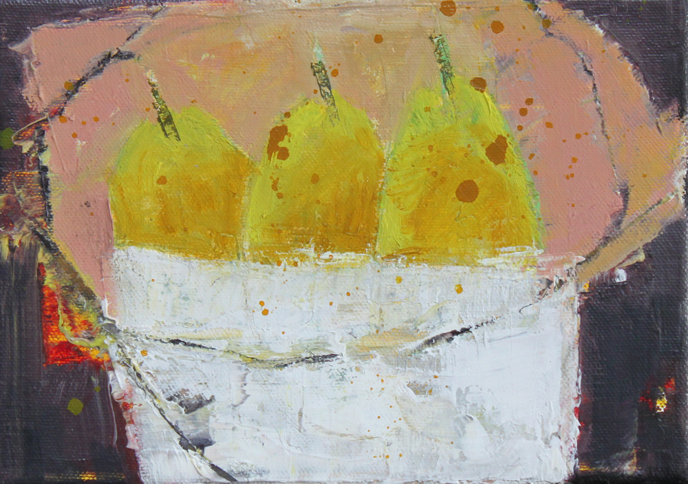 Marilyn Browning  3 Pears in a bowl   15 x 21 cm oil on canvas (framed) £ 325   Enquire