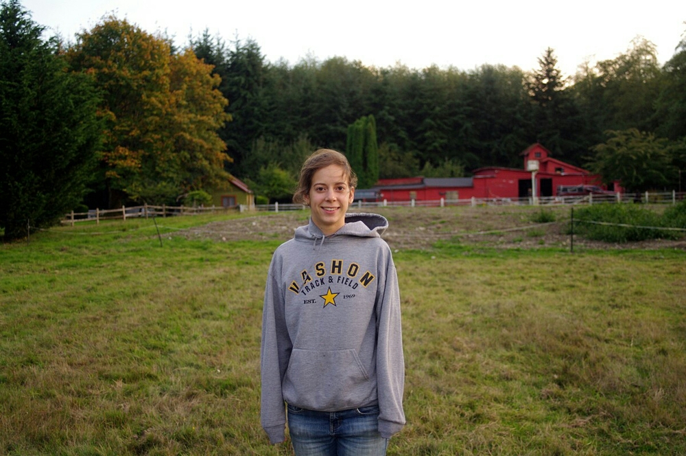 Kelsey and I standing in the field our cottage looks out on - Fall 2013