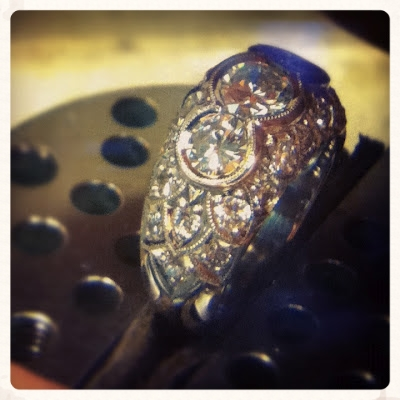The finished ring that was modeled using the lost wax process.  Gorgeous.