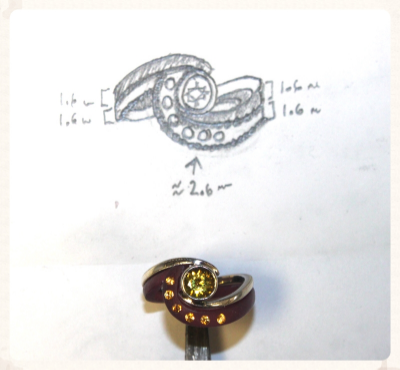 This ring was not modeled using the lost wax process or CAD.  Instead it was fabricated directly from metal.