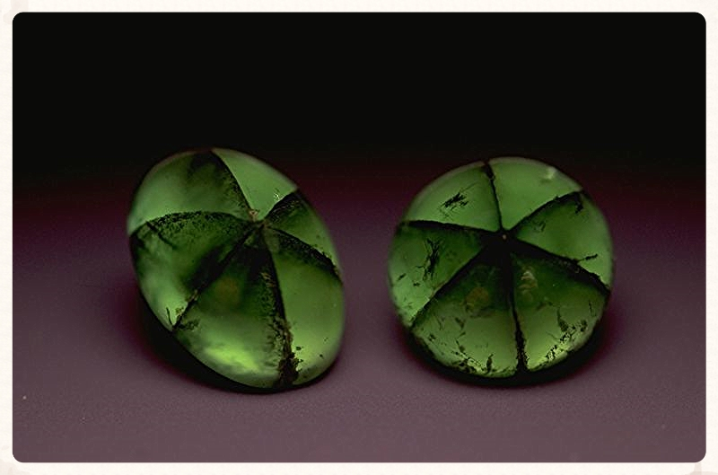 Trapiche emeralds. From the Smithsonian Museum of Natural History.