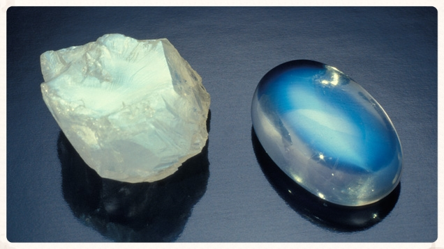 The shimmering light of moonstone is visible even in the rough stone.  In a cabachon it becomes other-worldly.  From the Gemological Institute of America.
