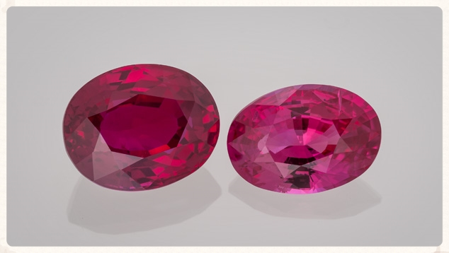 These rubies exhibit fine color. From the Gemological Institute of America.