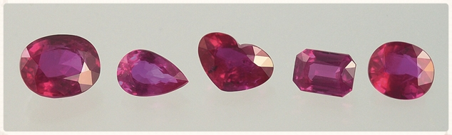 Rubies can be cut in a variety of shapes. From GIA.