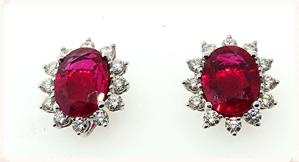 Each of the rubies in this pair of lovely earrings is over two carats making them quite expensive.