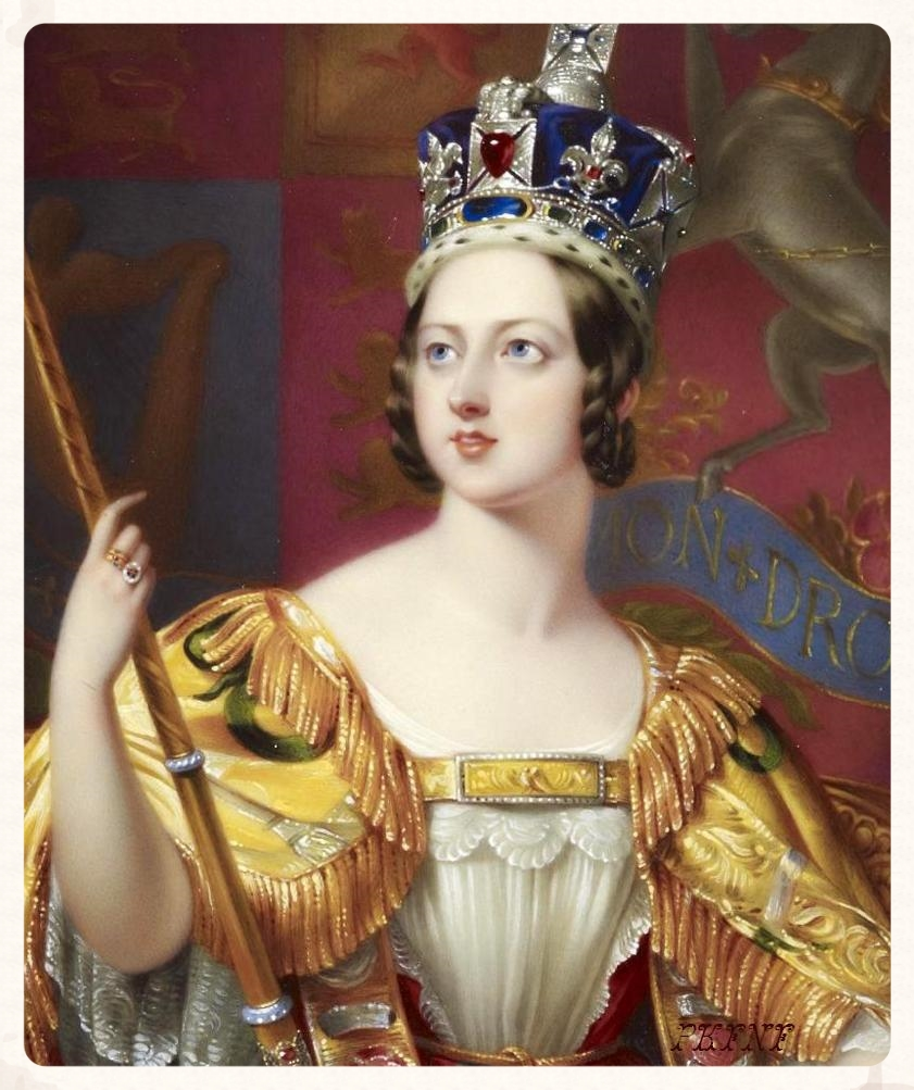Portrait for the Coronation of Queen Victoria by George Hayter. The Black Prince Ruby (actually a spinel) is centered in her crown. From Wikipedia.