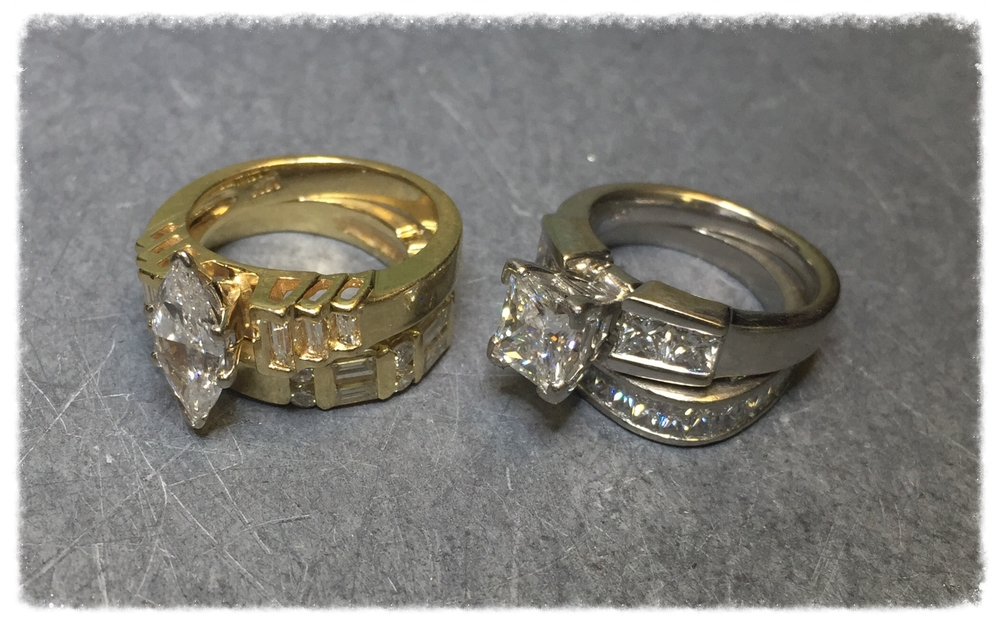 We begin our story with two wedding sets laying lonely and unworn in the dark recesses of a beautiful client's drawer.  She met with our custom designer to explore options for transforming her rings into something spectacular she could wear every day.