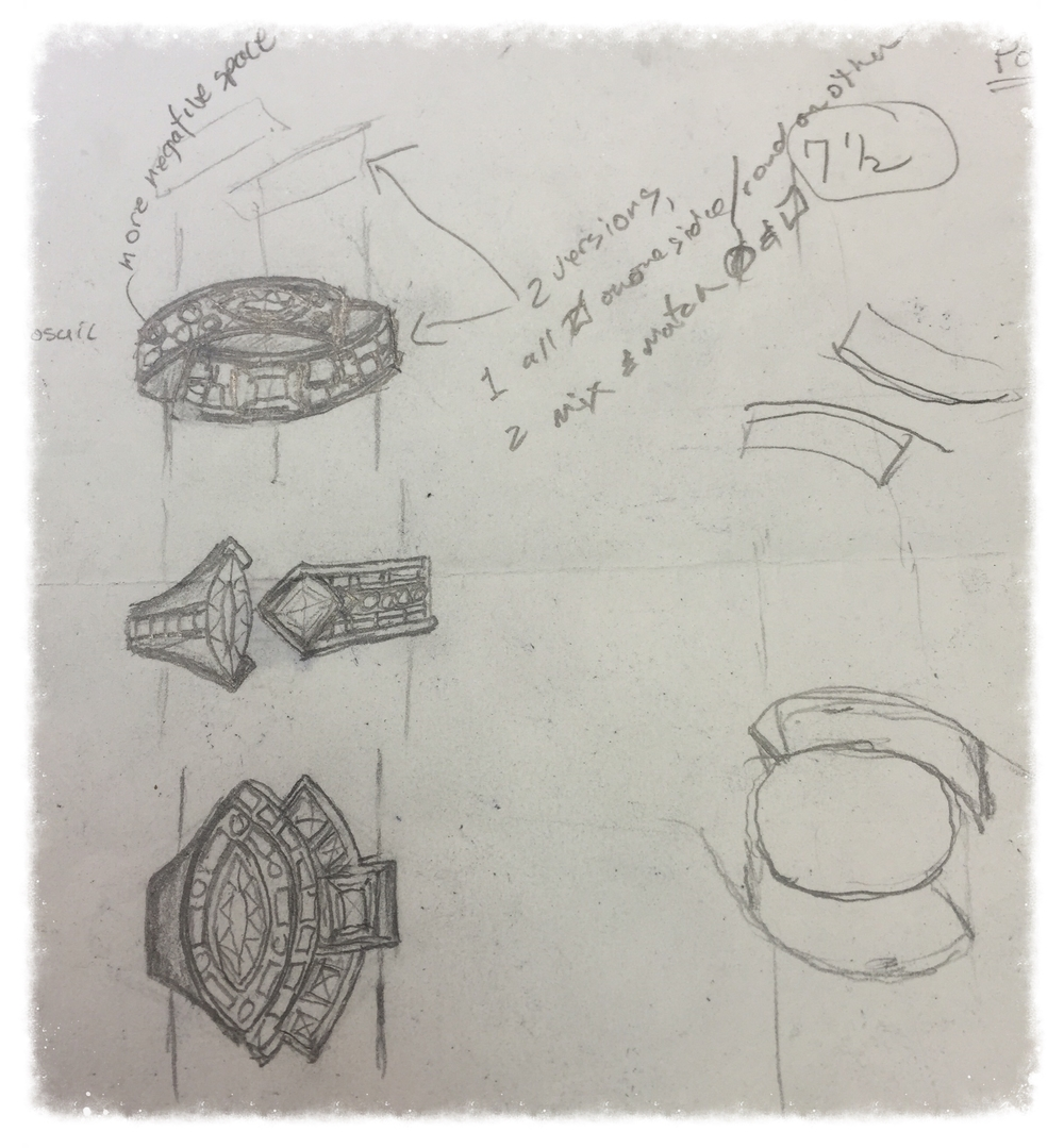 Our custom designer created sketches showing possible designs that incorporated some or all of the stones into one fabulous ring.  The client envisioned something modern -- less traditional.  Fortunately she was open to an asymmetrical design, which allowed the designer to include both of the main stones. The client chose the bypass ring -- the first ring at top of the page of sketches.