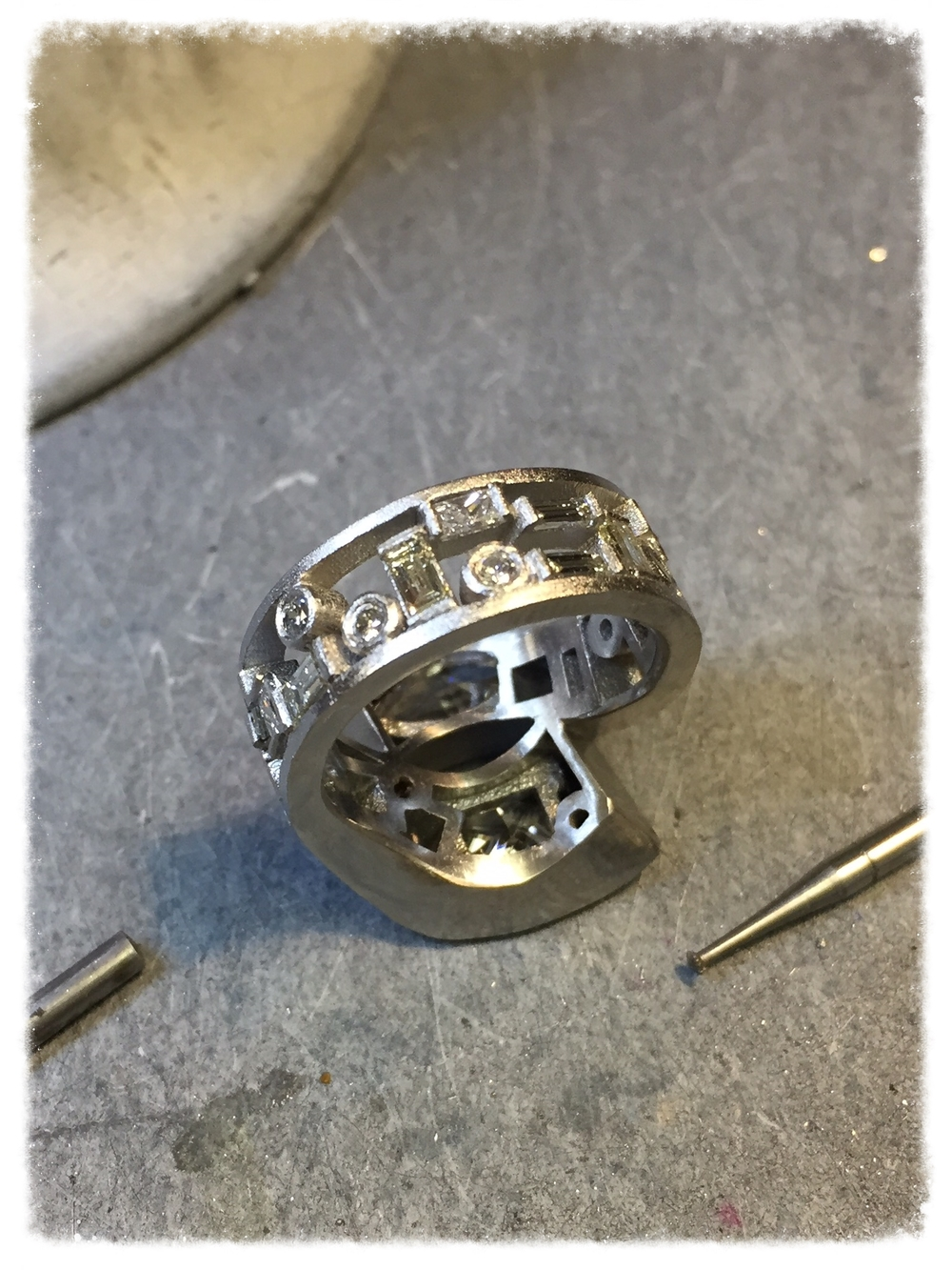 The custom ring is just about ready for its final polishing.