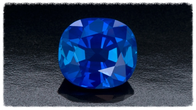 Deep, intense, velvety blue is the best way to describe the color of this sapphire from the Kashmir region on the India/Pakistan border. From the Gemological Institute of America.