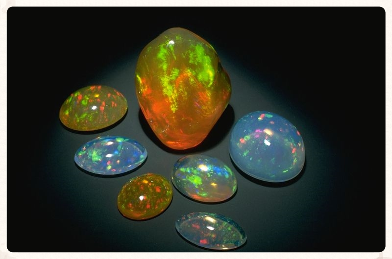 Mexican fire opals.  From the National Gem Collection at the Smithsonian Institution.