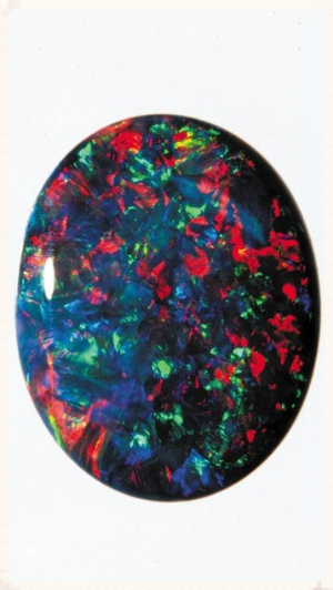 Black opal. Image from the Gemological Institute of America.