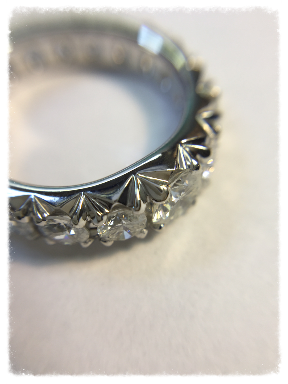 The finished French-cut pavé ring!