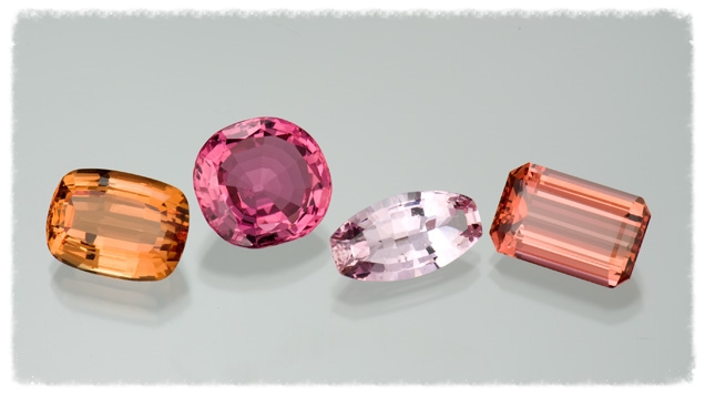 This selection of gems from Ouro Prêto, Brazil, and Russia's Ural Mountains, displays the golden orange to pinkish red color range of precious topaz. From the Gemological Institute of America.