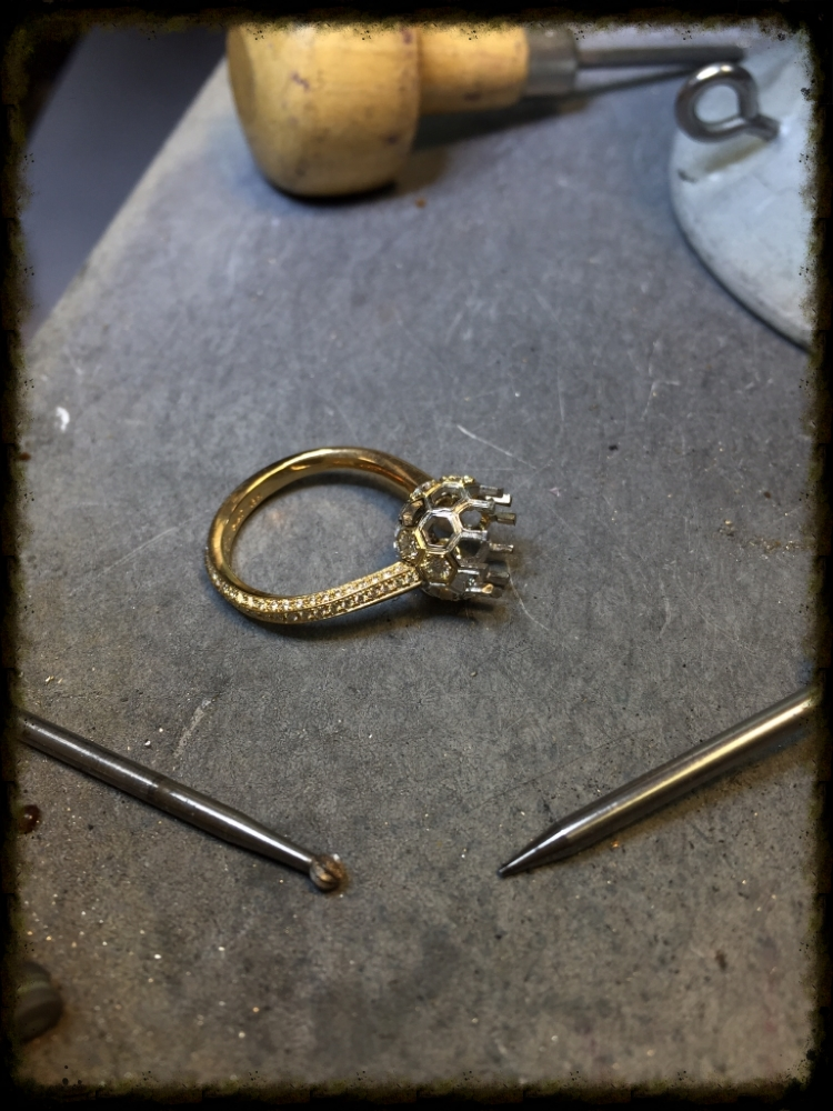 Ring ready for the final setting of the purple spinel.